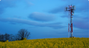 A wireless telecommunications tower in a grass field.